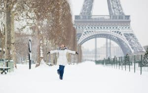 Paris Eiffel Tower in Winter Snow